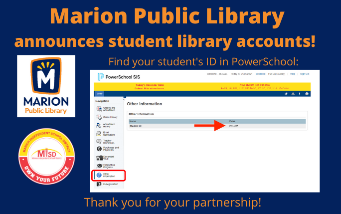 Marion Public Library Creates Student Accounts